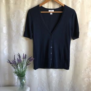 Ann Taylor LOFT 100% Pima Cotton Navy Cardigan XS